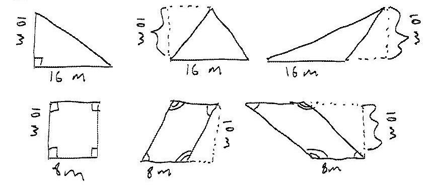 A polygon has an area of 80 square meters and a height of 10 meters