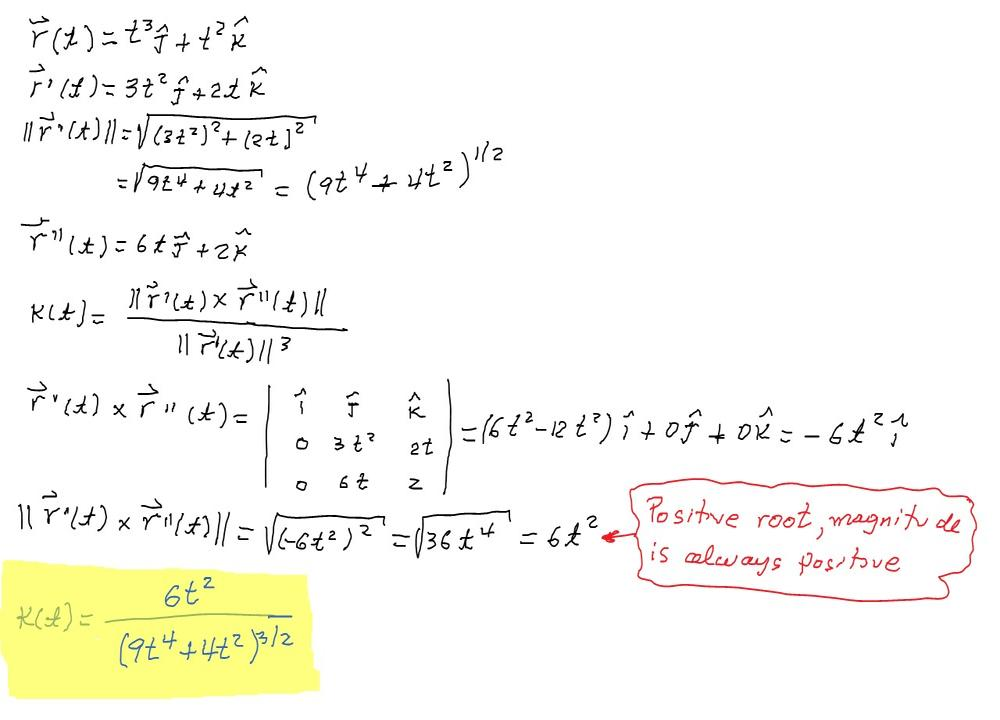 Use Theorem 10 to find the curvature  r(t) = t3 j + t2 k :: Free
