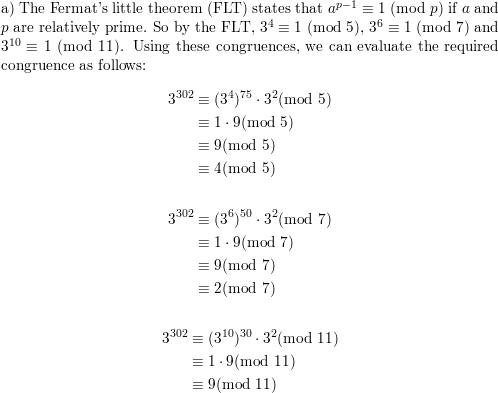 a) Use Fermat's little theorem to compute 3³⁰² mod 5, 3³⁰²
