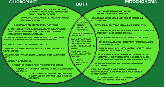Complete The Venn Diagram To Compare And Contrast Chloroplasts And
