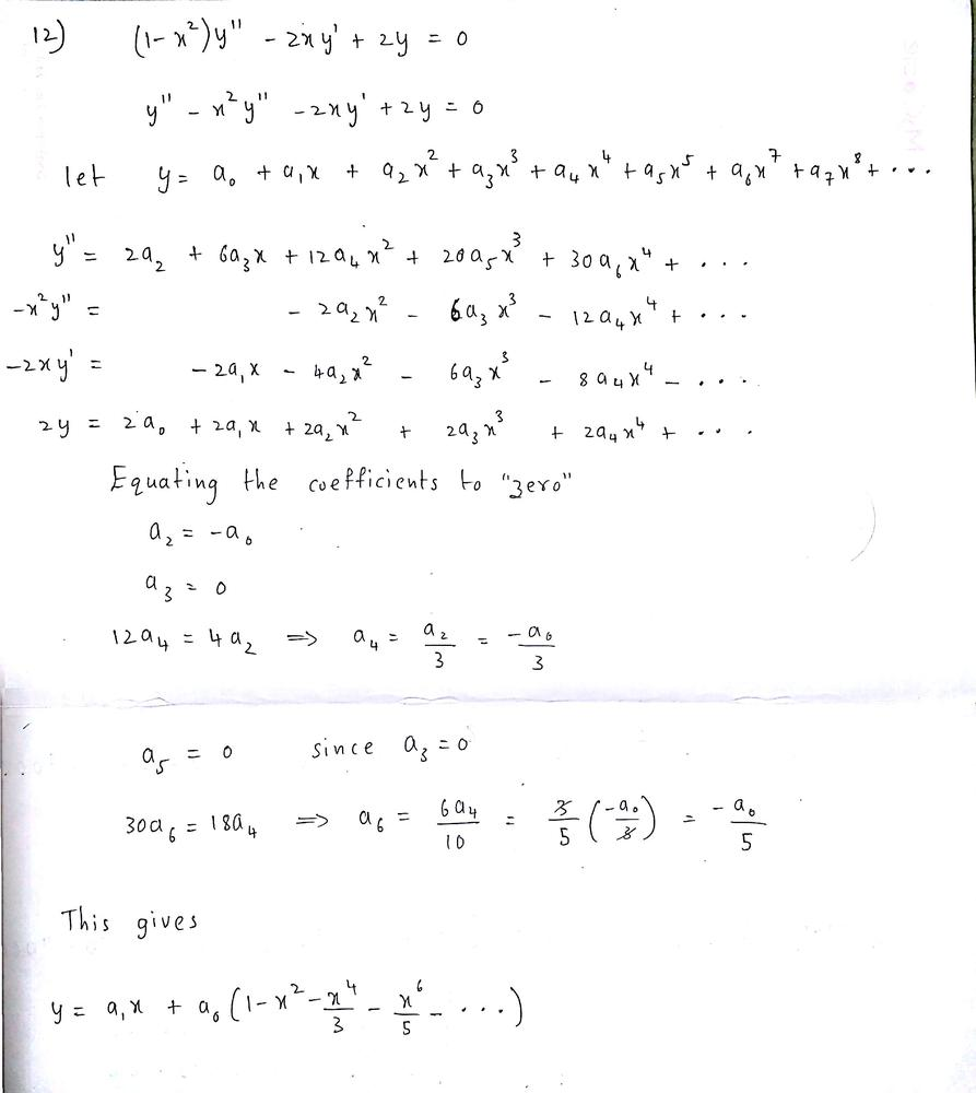 Find a power series solution in powers of x. Show the details. (1-x² ...
