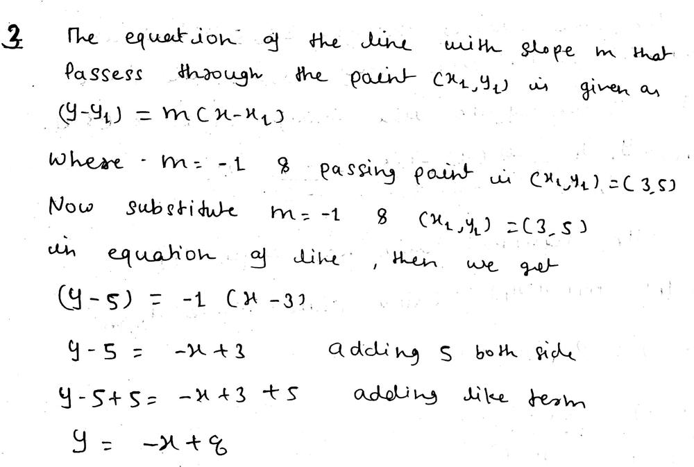 Write The Equation Of Each Line In Slope Intercept Forme Line