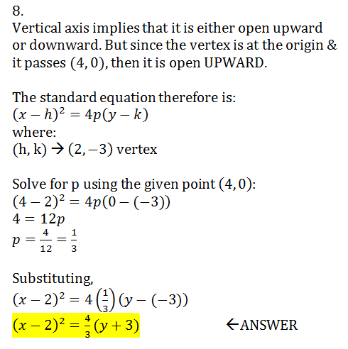 Find The Standard Form Of The Equation Of The Parabola With Vertex
