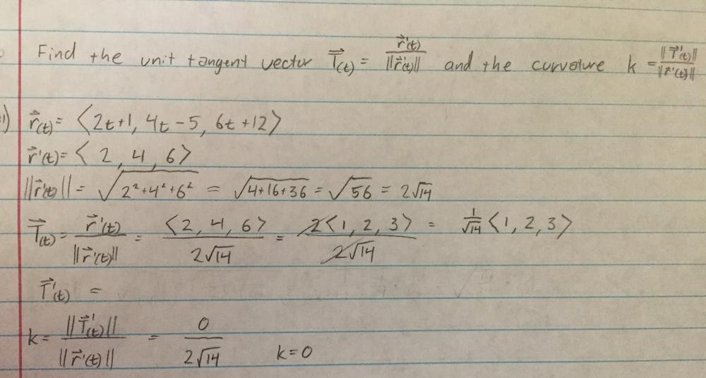 Find the unit tangent vector T and the curvature k for the following
