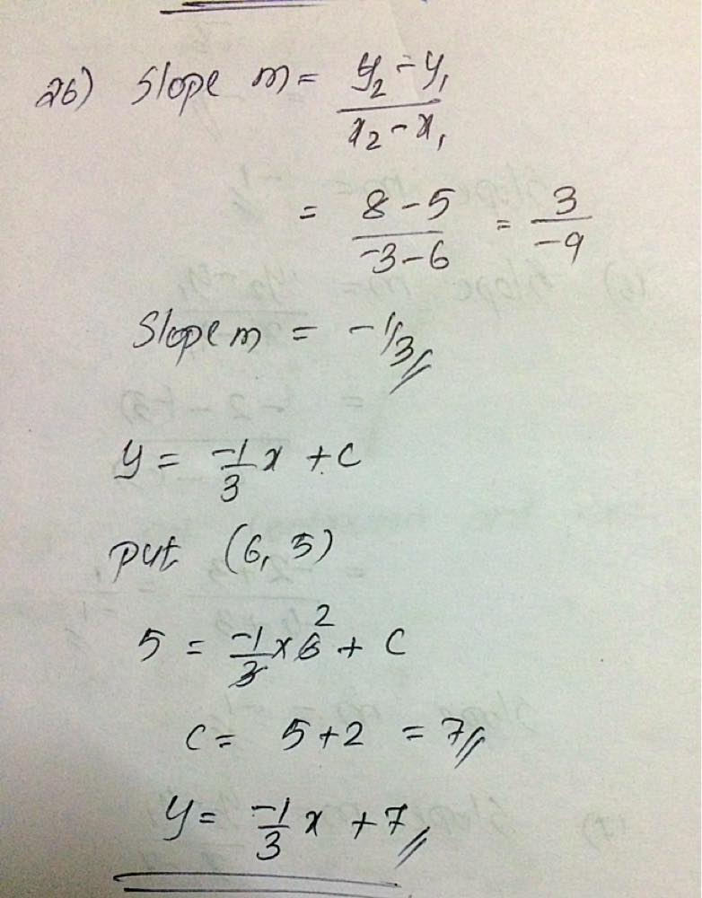 Write The Equation Of The Line That Passes Through Each Pair Of
