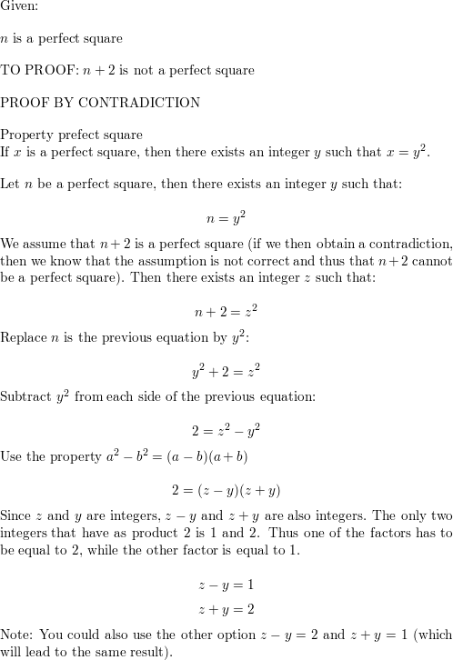 Prove that if n is a perfect square, then n + 2 is not a perfect