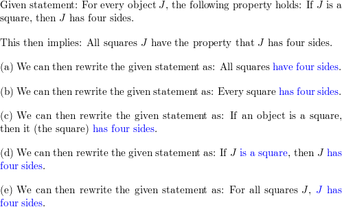 In each fill in the blanks to rewrite the given statement  For all