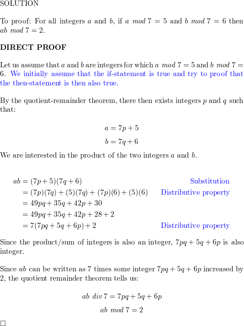 Prove that for all integers a and b, if a mod 7=5 and b mod