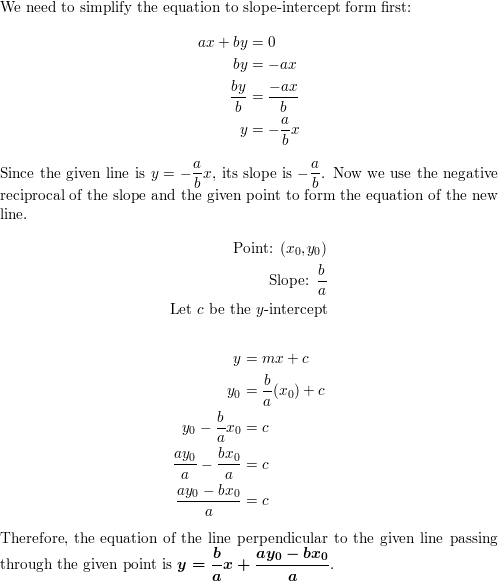 Find the formula for the distance from the point (x0, y0) to