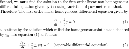 solve the given differential equation  y'+(1/t)y=3 cos 2t,t