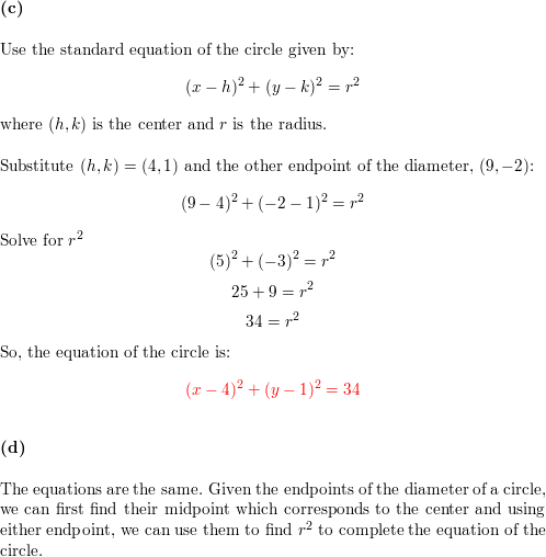 Consider the circle that has a diameter with endpoints (-1