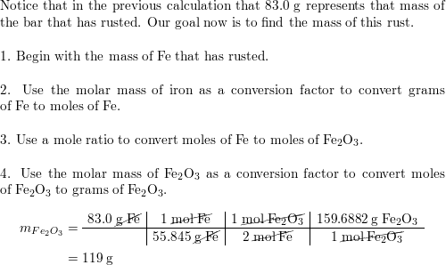 An iron bar weighed 664 g  After the bar had been standing