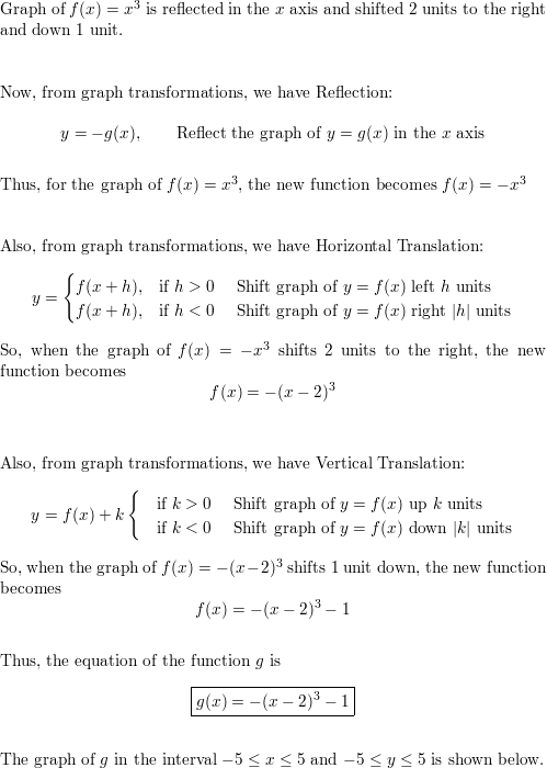 The graph of the function g is formed by applying the indicated