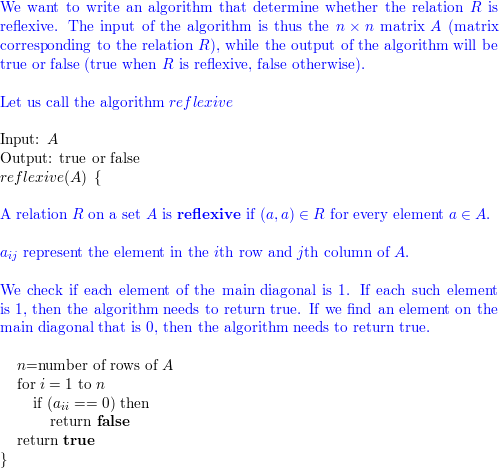 Write an algorithm that receives as input the matrix of a relation R