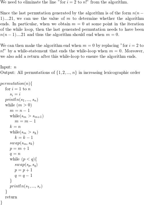 Modify the generating permutations algorithms so that line 5 5  for