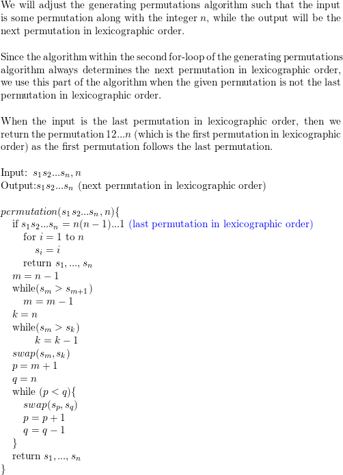 Write an algorithm whose input is a permutation of {1,2,   ,n}  The